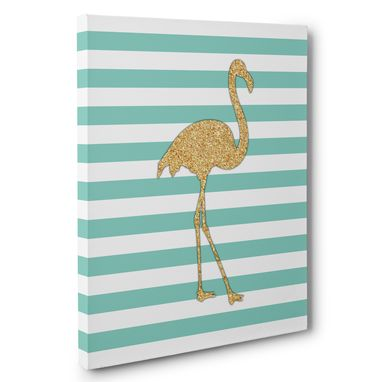 Custom Made Flamingos And Stripes Pink & Mint Canvas Wall Art
