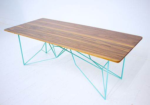 Custom Made The Yoshi, Modern Walnut Coffee Table, Geometric Steel Base, Midcentury Modern