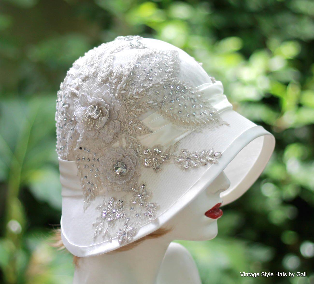 Custom Made Vintage 1920 S Hat Elaborate Lace Rhinestone Beaded Wedding 7362d1aa33f