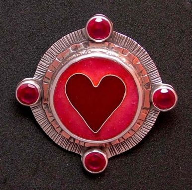 Custom Made Ruby Heart Pendant-Enamel