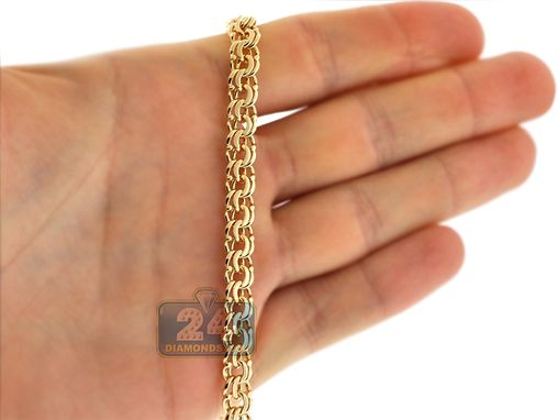 Custom Made Handmade 18k Yellow Gold Bismark Flat Link Mens Chain 7 Mm 24 Inches