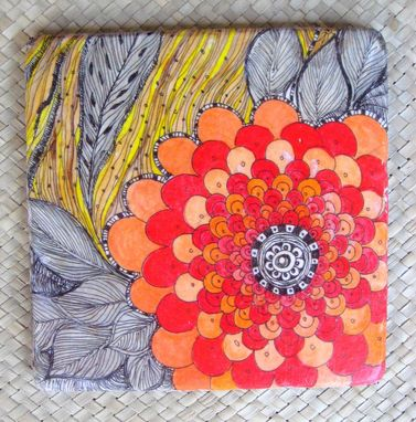 Custom Made Tile Coaster Mothers Day Poppy Design 6x6-Red Orange Black