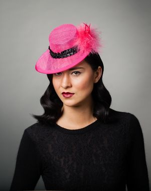 Custom Made Hot Pink Cocktail Hat With Pom Pom