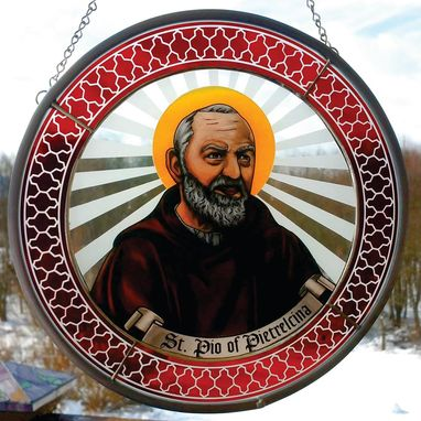 Custom Made Stained Glass Hand Painted Crests And Religious Images