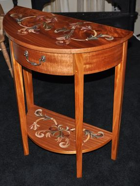 Custom Made Hand Painted Mahogany Demilune Table