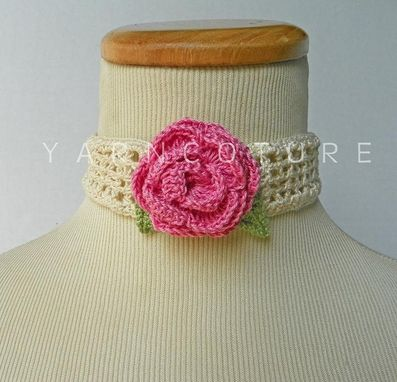 Custom Made The Victorian Crochet Rose Choker - Featuring Vintage Buttons