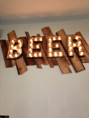 Custom Made Beer Sign Vintage Style Metal Letters Light Fixture 18 Inch Tall Marquee Signage