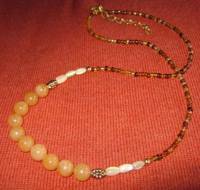 Custom Made Adventurine And Mother Of Pearl Necklace - Free Shipping