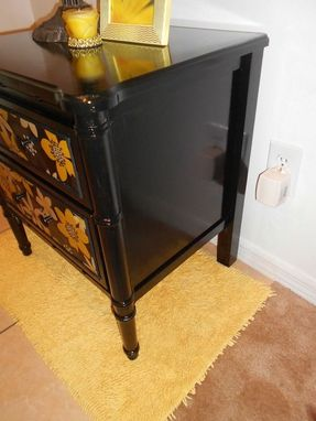 Custom Made Custom Repurposed Fabric Fronted Nightstand Or End Table