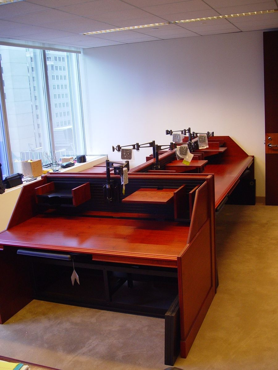 Hand Crafted Custom Made Narrow Line Trading Desk By R J