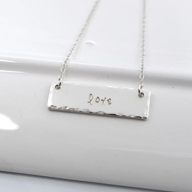 Custom Made My One Word Hand Stamped Bar Necklace
