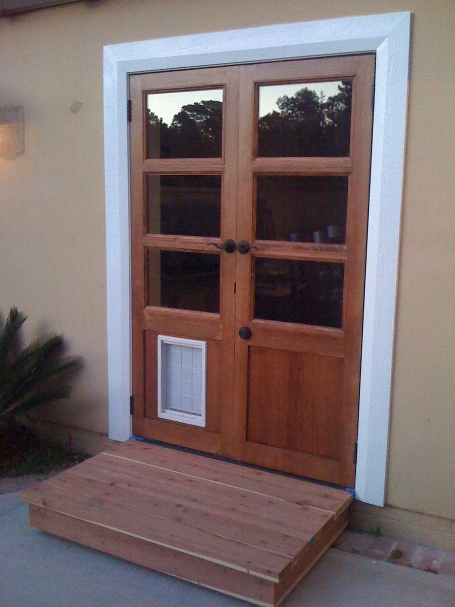 Handmade custom french doors with dog door by glerup for Exterior door with built in pet door