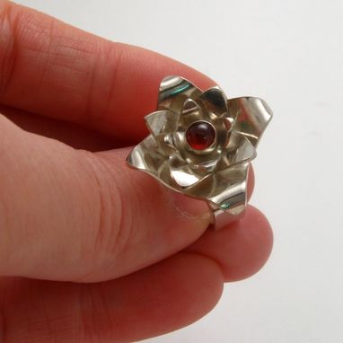 Custom Made Sterling Silver Lotus Ring With 5mm Garnet Size 6.5