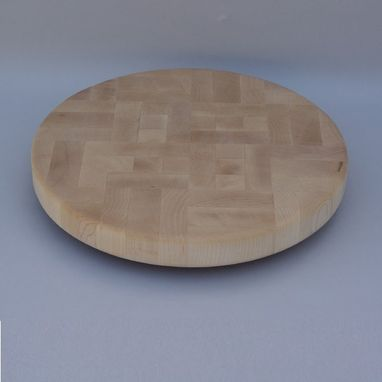Custom Made Round Maple End Grain Up Cutting Board
