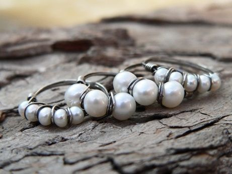 Custom Made Four Rustic Fresh Water Pearl Rings - $50