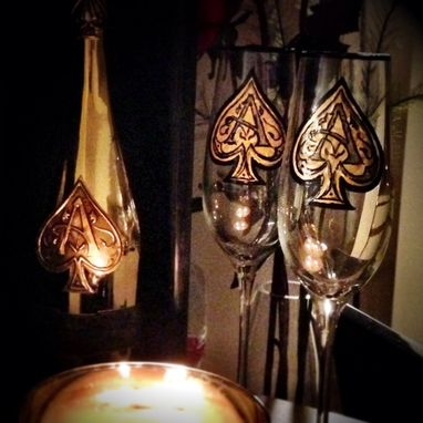 Custom Made Hand Painted Wine Glasses. Armand De Brignac Design. Champagne Flutes