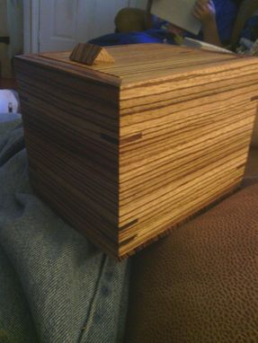 Custom Made Handmade Zebrawood Box With Magnetic Lid