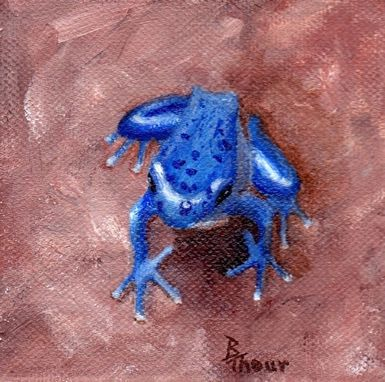 Custom Made Original Blue Froggy Acrylic Painting