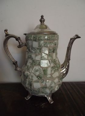 Custom Made Mosaic Silver Teapot Decorated With Broken China