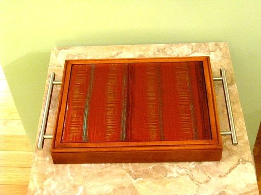 Custom Made Wine Tray With Large Handmade Glass Tile