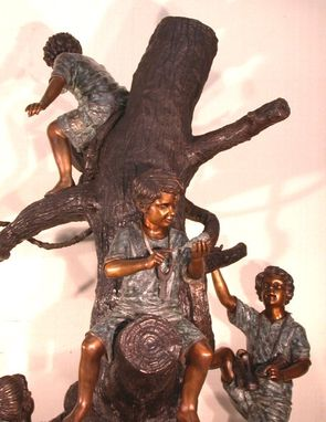 Custom Made Children Discovering The Birds Nest, Bronze Statue