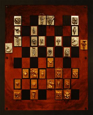 Custom Made Magnetic Chess Rust And Black