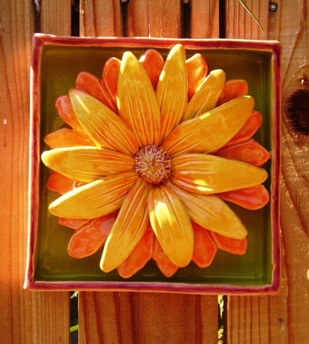 Custom Made Yellow Daisy Flower Box Ceramic Wall Hanging