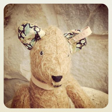 Custom Made Mohair Bear /Heirloom /Jointed /Vintage Style / Hand Stitched /Liberty Of London Fabric /Leather