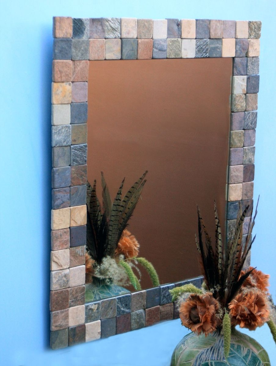 Hand Made Slate Mat Framed Mirror By Inspired By Nature