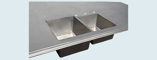 Custom Made Pewter Countertop With Integral Double-Sink
