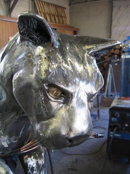 Custom Mountain Lion Fabricated Metal Sculpture By Jacob