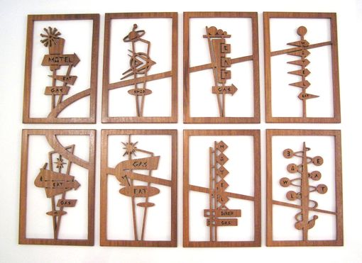 "Custom Made Mahogany 8-Panel Mid-Century Modern Fretwork Collage ""Googie Signs 2"""