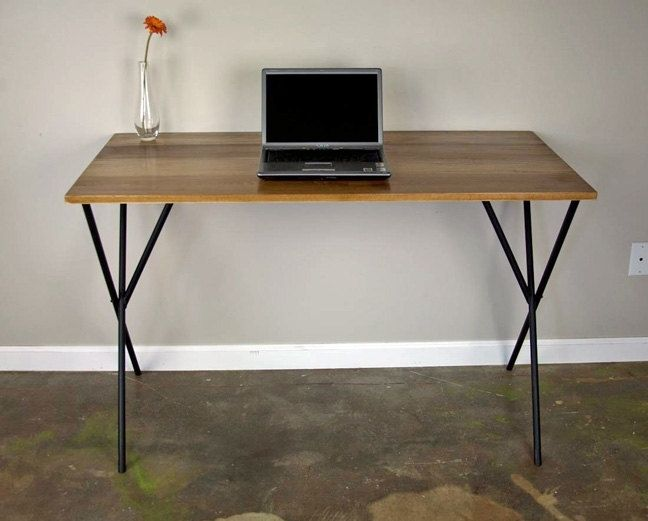 Hand crafted modern desk minimalist design wood top for Minimalist desk