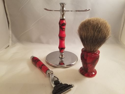 Custom Made Acrylic Razor, Brush, And Stand