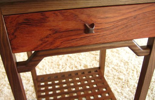Custom Made Walnut And Bubinga Nightstand