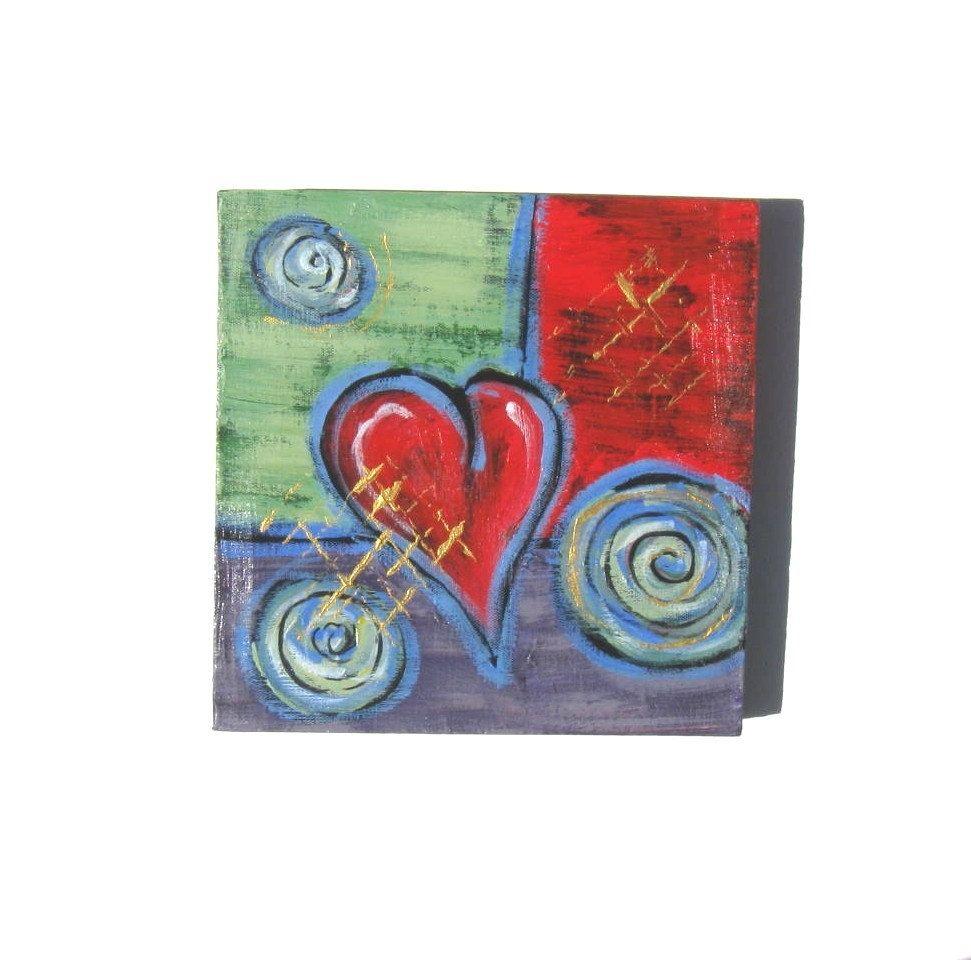 Custom Valentine Gift Idea Acrylic Abstract Heart Painting Original