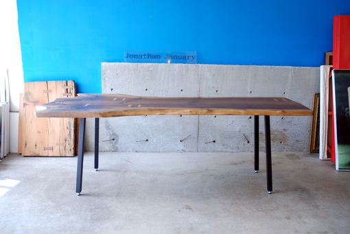 Custom Made Ship Ready Now -- Walnut Slab Dining Table With Maple Butterfly Joints