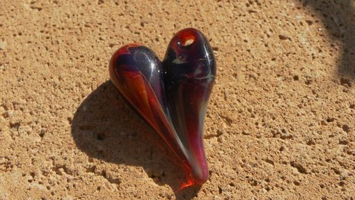 Custom Made Large Hand-Blown Glass Heart Pendant In Amber And Purple