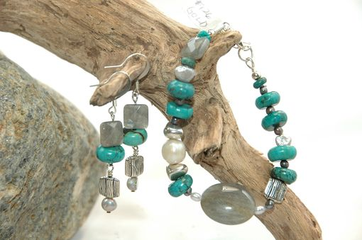 Custom Made Turquoise, Labradorite, Pearl Necklace, Bracelet And Earrings