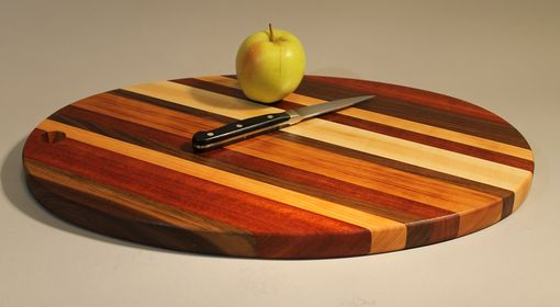 Custom Made Oval Cutting Board Of 5 Woods