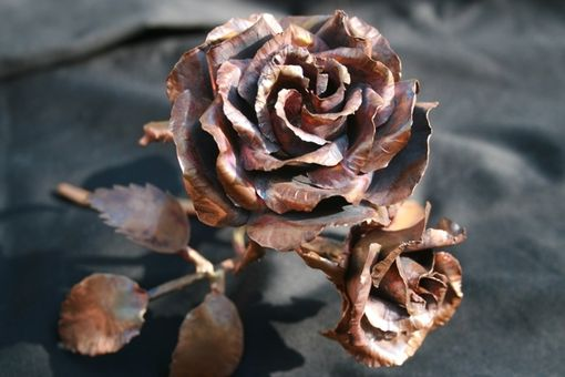 Custom Made Copper Rose Metal Art Sculpture