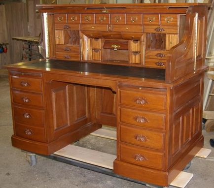 Custom Made Clark Model Quarter Sawn White Oak Roll Top Desk