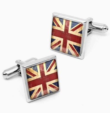 Custom Made British Flag Punk Rock Sterling Silver Cuff Links