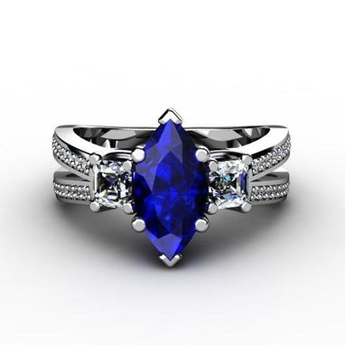 Custom Made Sapphire & Diamond Engagement Ring