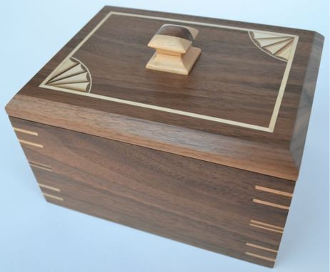 Custom Made Bespoke, Custom Made Walnut And Maple Inlayed Jewelry Box