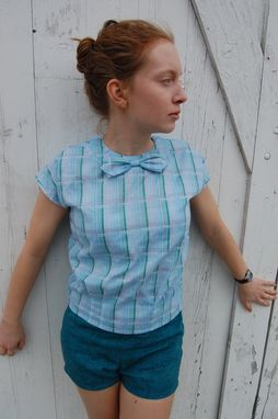 Custom Made Petite Blouse Bow Tie Blouse