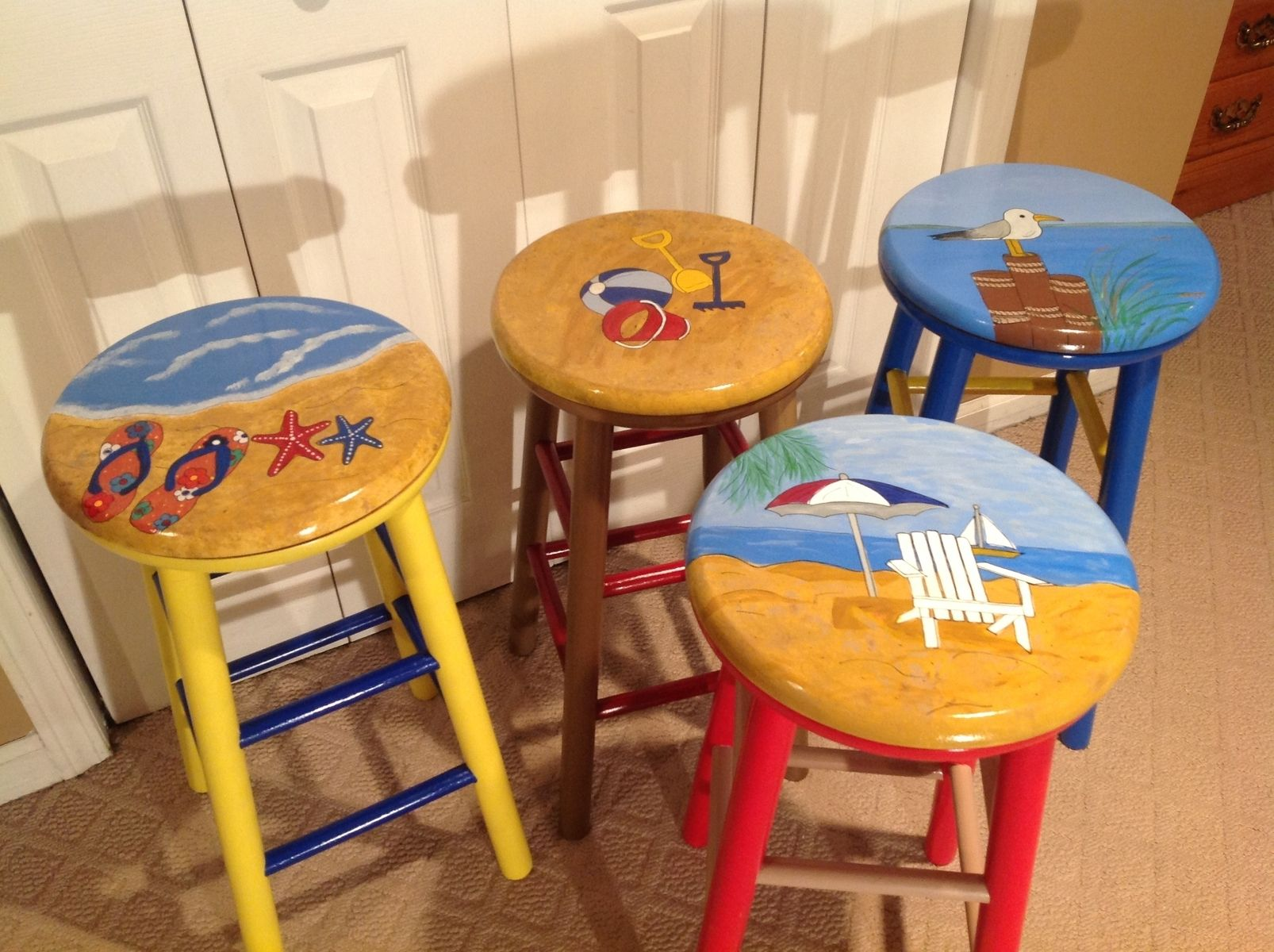 Handmade custom designed and hand painted 24 by michele for Painted kitchen chairs