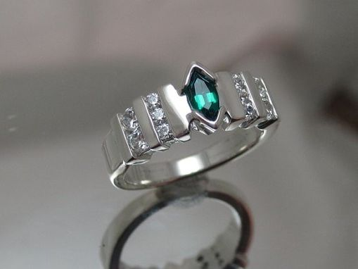 Custom Made Marquee With Cz Side Stones Engagement Style Ring