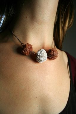 Custom Made Desert Rose Between Two Creedite Wire Wrapped Necklace On Antiqued Gold Chain
