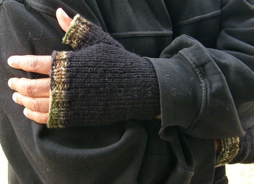 Custom Made Hand Knit Fingerless Gloves For Men / In Black With Camouflage Trim